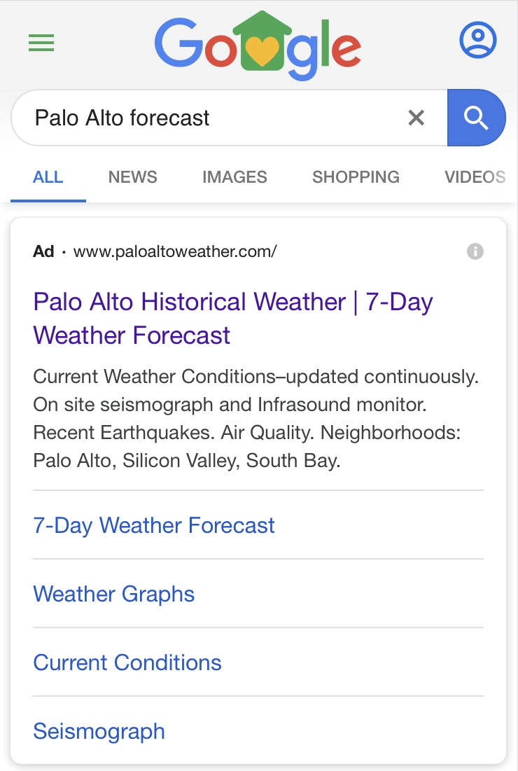 PaloAltoWeather.com search ad